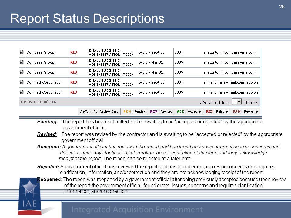 Report Status Descriptions