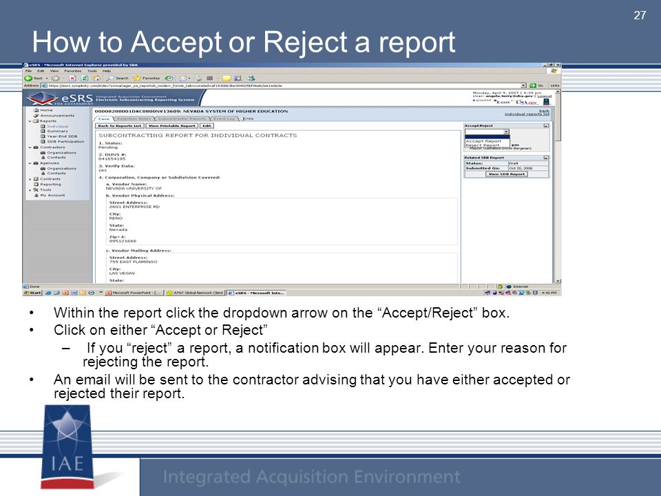 How to Accept or Reject a report