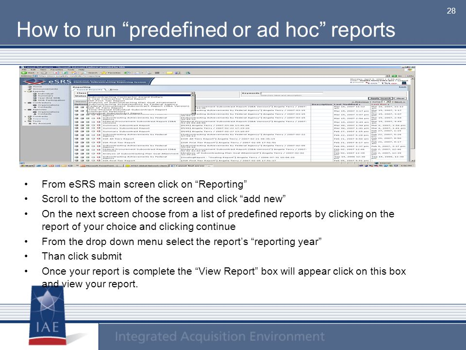 How to run predefined or ad hoc reports