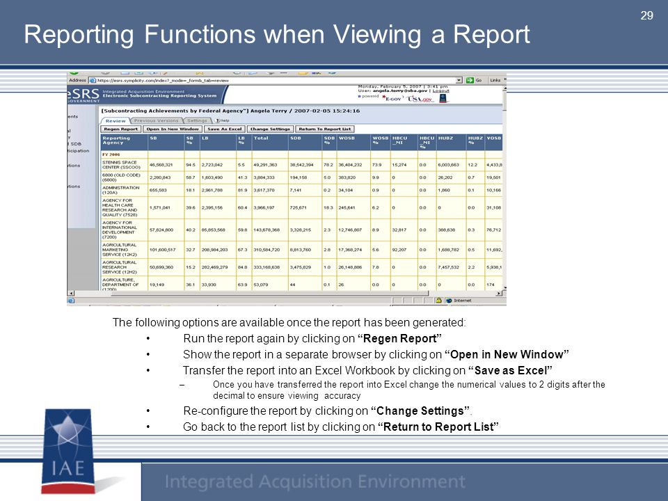 Reporting Functions when Viewing a Report