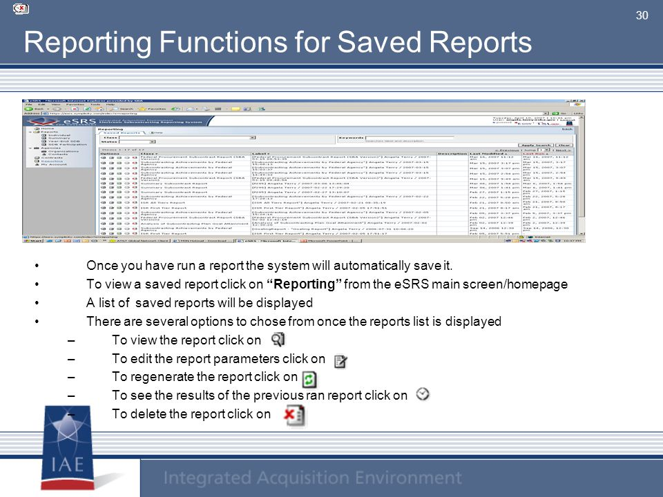 Reporting Functions for Saved Reports