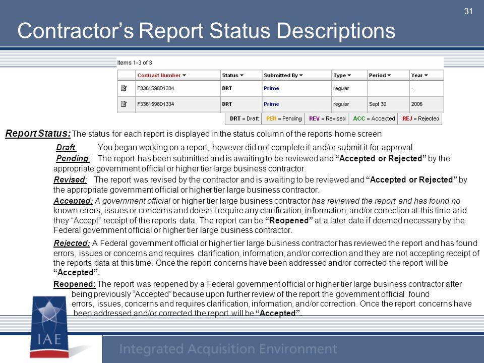 Contractor's Report Status Descriptions