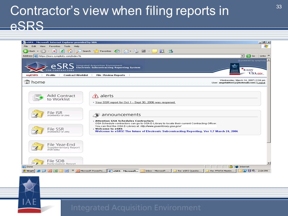 Contractor's view when filing reports in eSRS