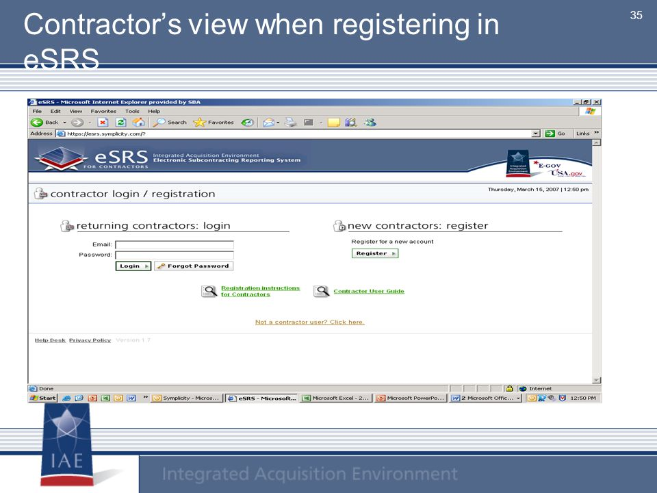 Contractor's view when registering in eSRS