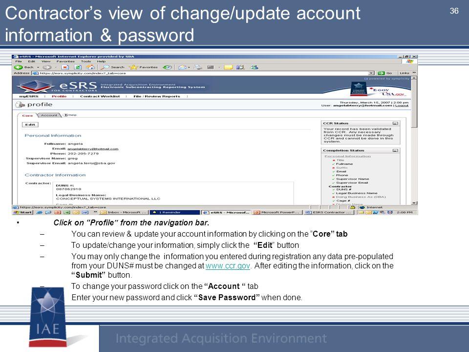 Contractor's view of change/update account information & password