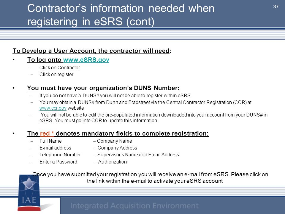 Contractor's information needed when registering in eSRS (cont)