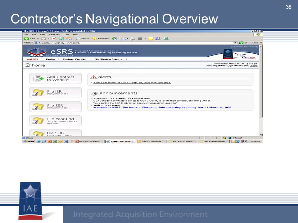 Contractor's Navigational Overview