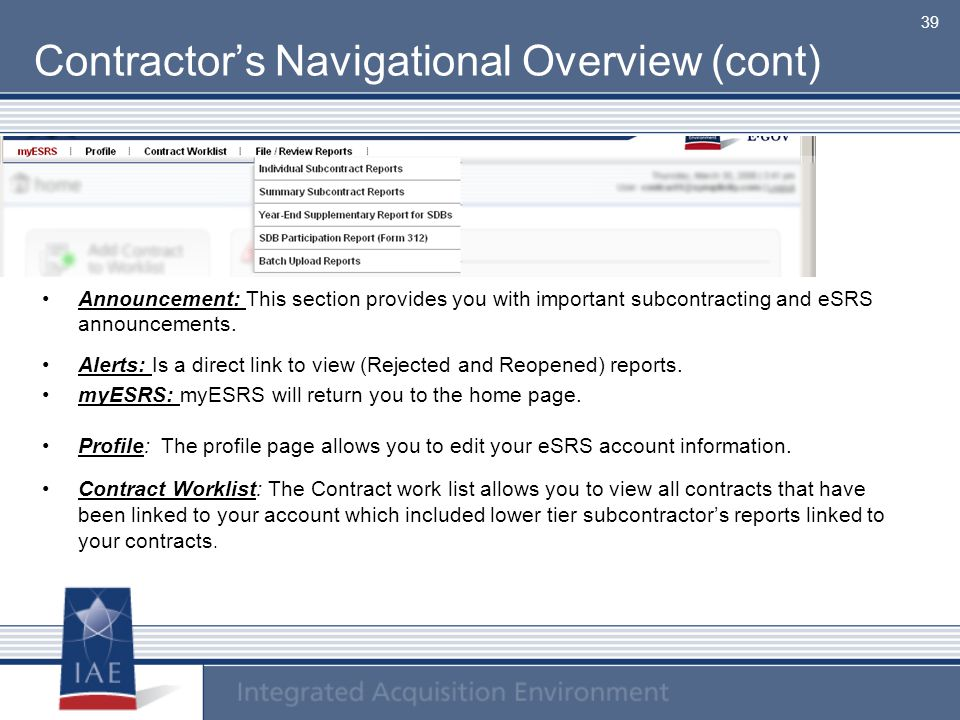 Contractor's Navigational Overview (cont)