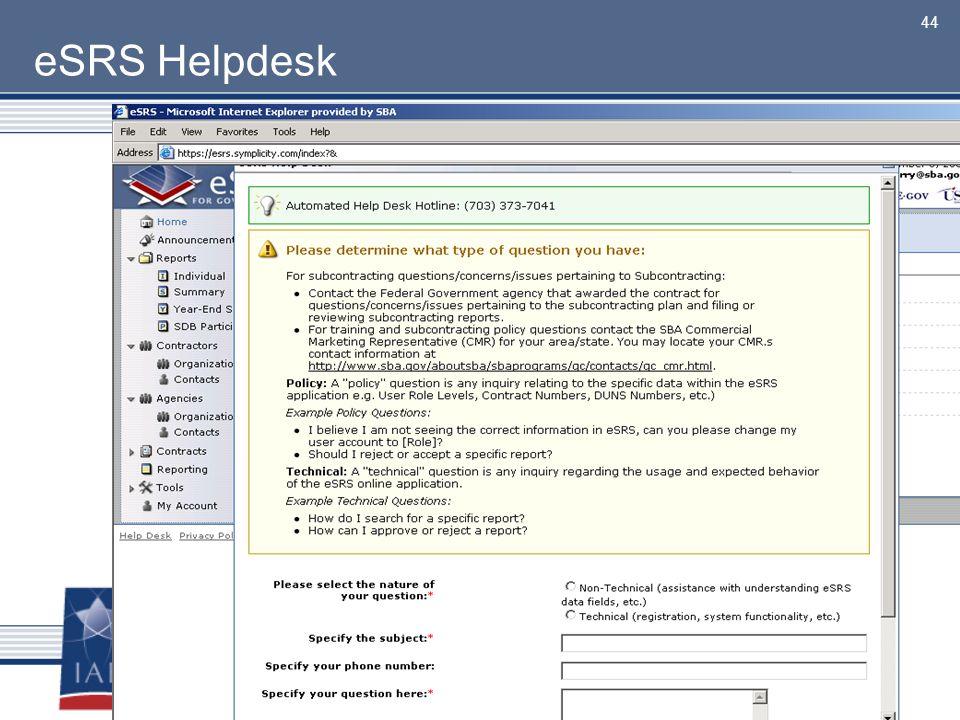eSRS Helpdesk