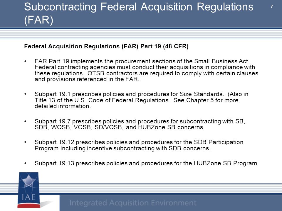 Subcontracting Federal Acquisition Regulations (FAR)