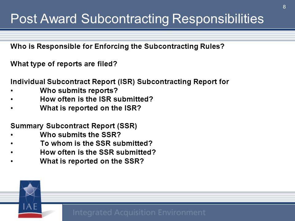 Post Award Subcontracting Responsibilities