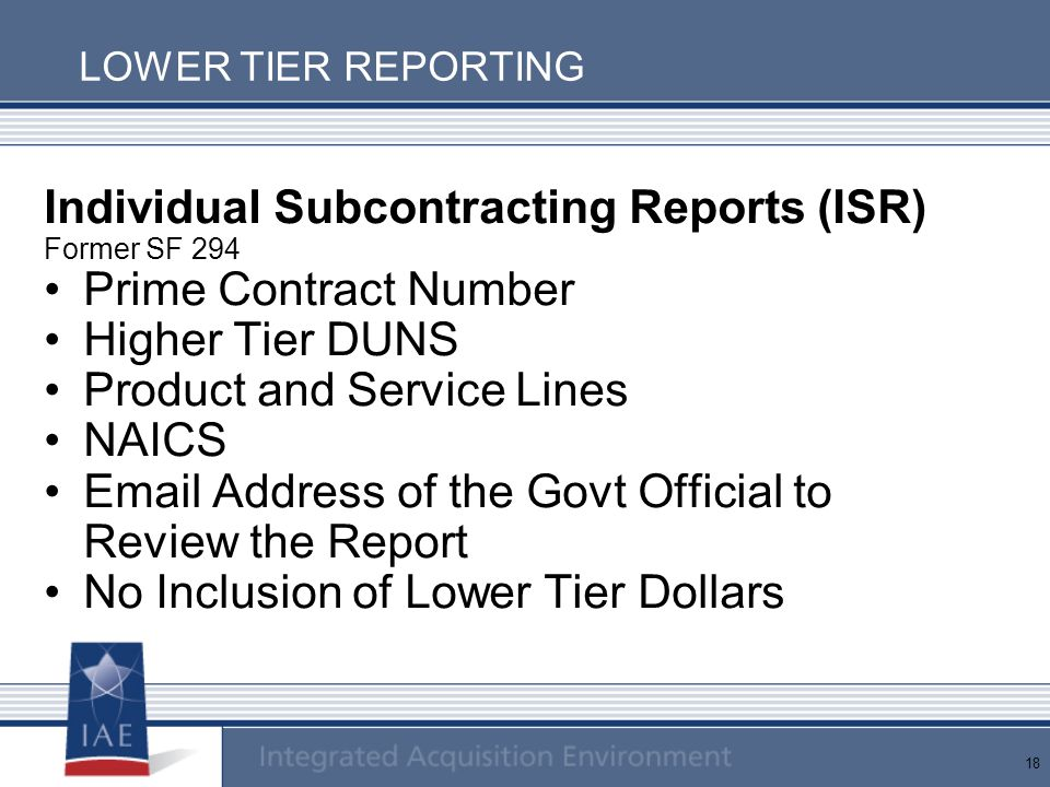 Individual Subcontracting Reports (ISR) Prime Contract Number