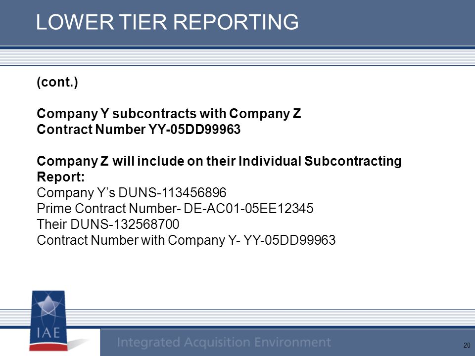 LOWER TIER REPORTING (cont.) Company Y subcontracts with Company Z