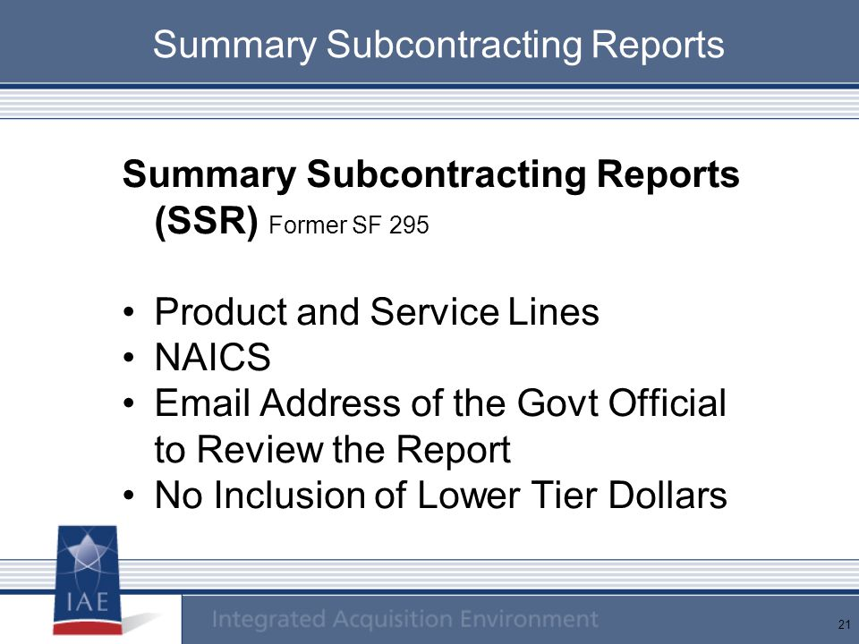 Summary Subcontracting Reports