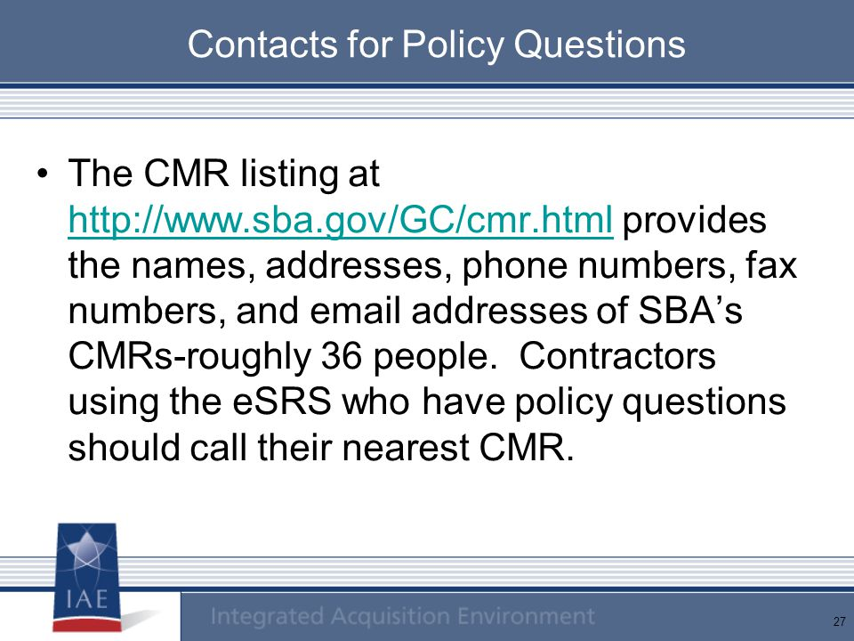 Contacts for Policy Questions