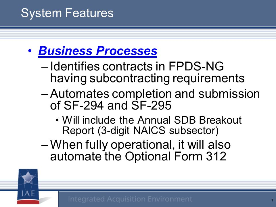 Identifies contracts in FPDS-NG having subcontracting requirements