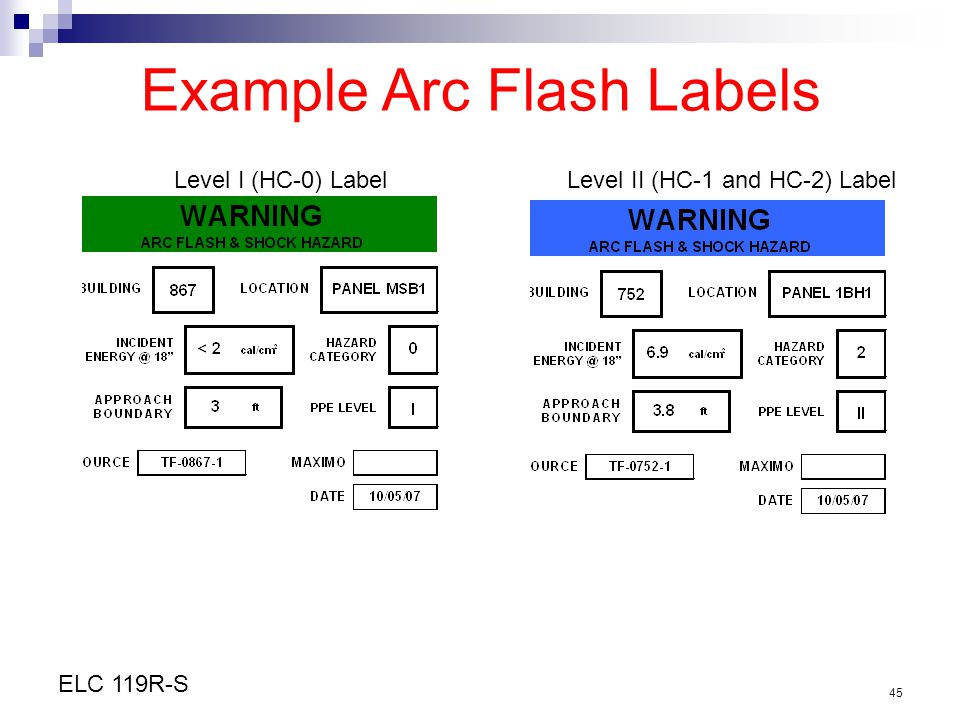 Example Arc Flash Labels