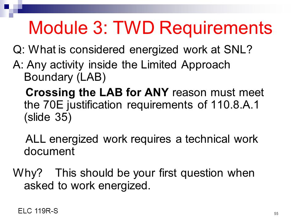 Module 3: TWD Requirements