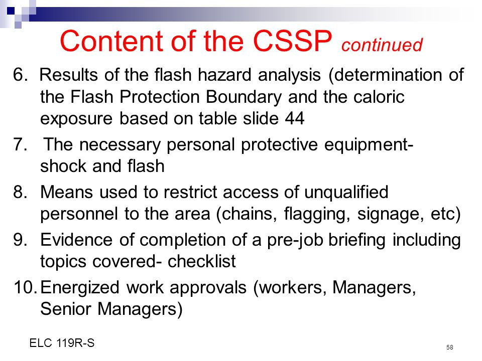 Content of the CSSP continued