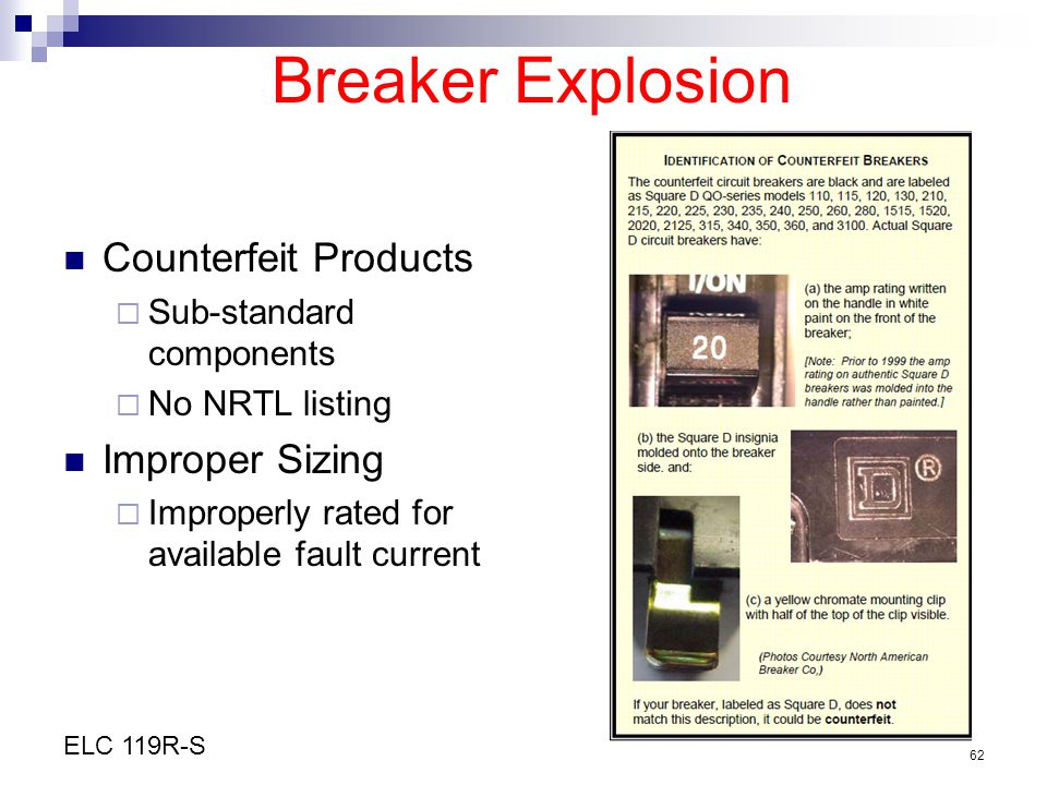Breaker Explosion Counterfeit Products Improper Sizing