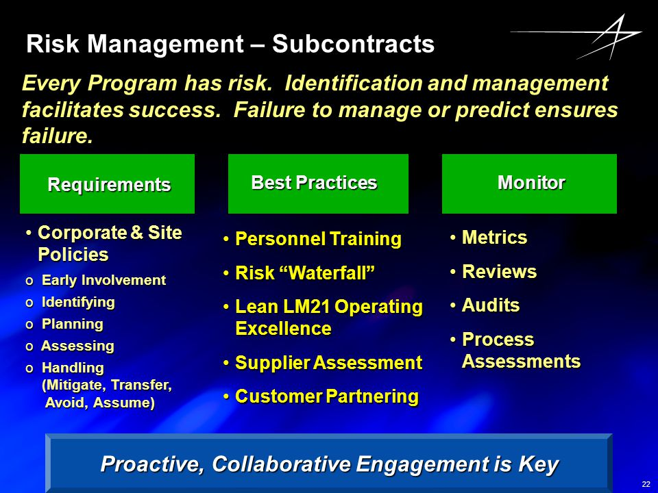 Risk Management – Subcontracts
