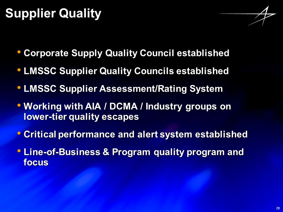 Supplier Quality Corporate Supply Quality Council established