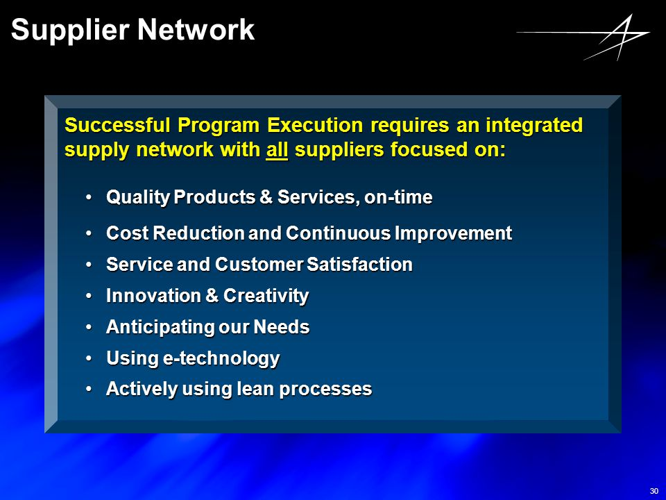 Supplier Network Successful Program Execution requires an integrated supply network with all suppliers focused on: