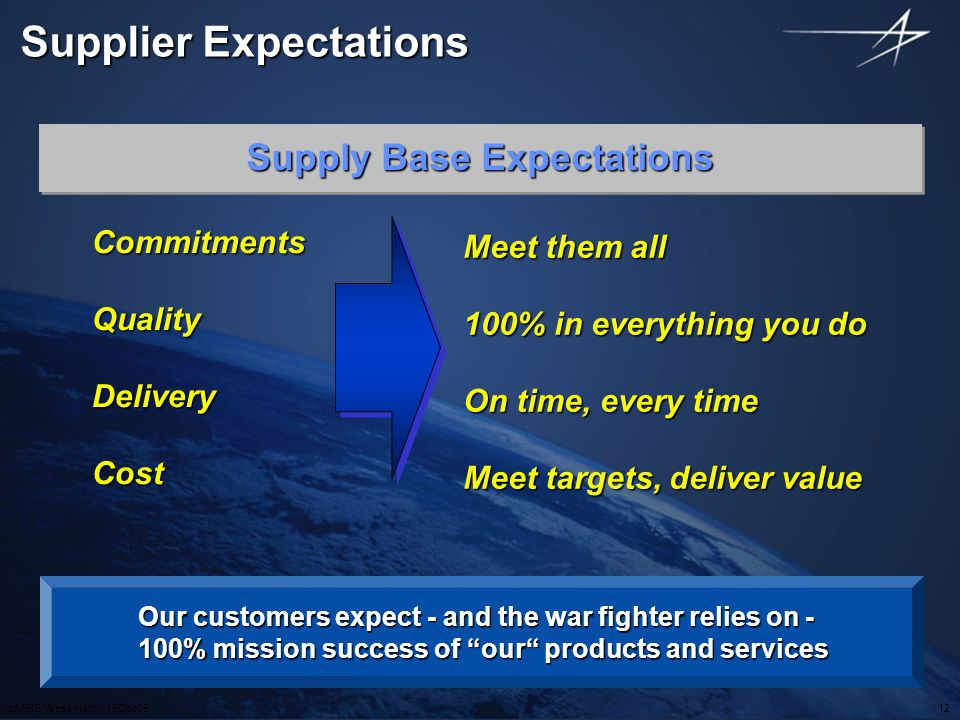 Supplier Expectations