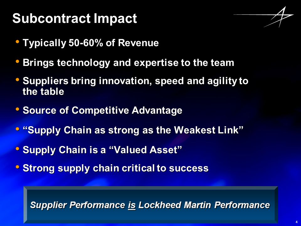 Subcontract Impact Typically 50-60% of Revenue