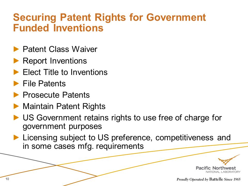 Securing Patent Rights for Government Funded Inventions