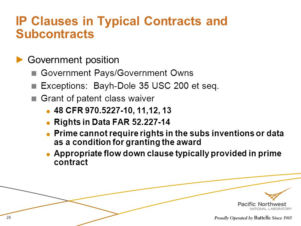 IP Clauses in Typical Contracts and Subcontracts