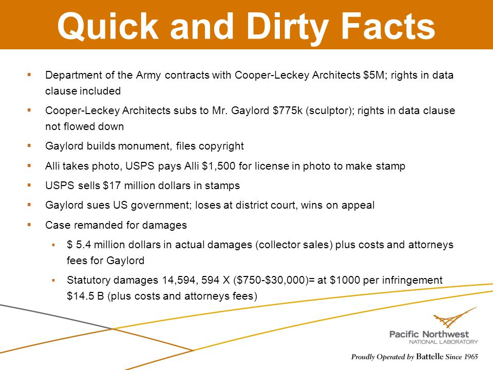 Quick and Dirty Facts Department of the Army contracts with Cooper-Leckey Architects $5M; rights in data clause included.