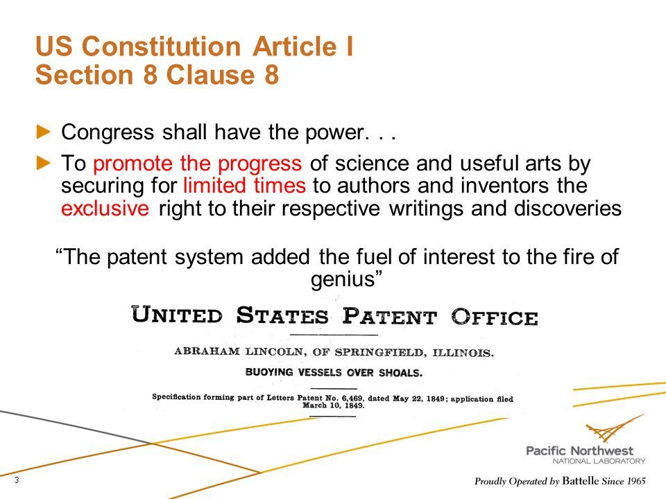 US Constitution Article I Section 8 Clause 8