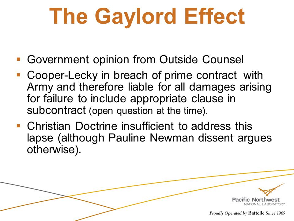 The Gaylord Effect Government opinion from Outside Counsel