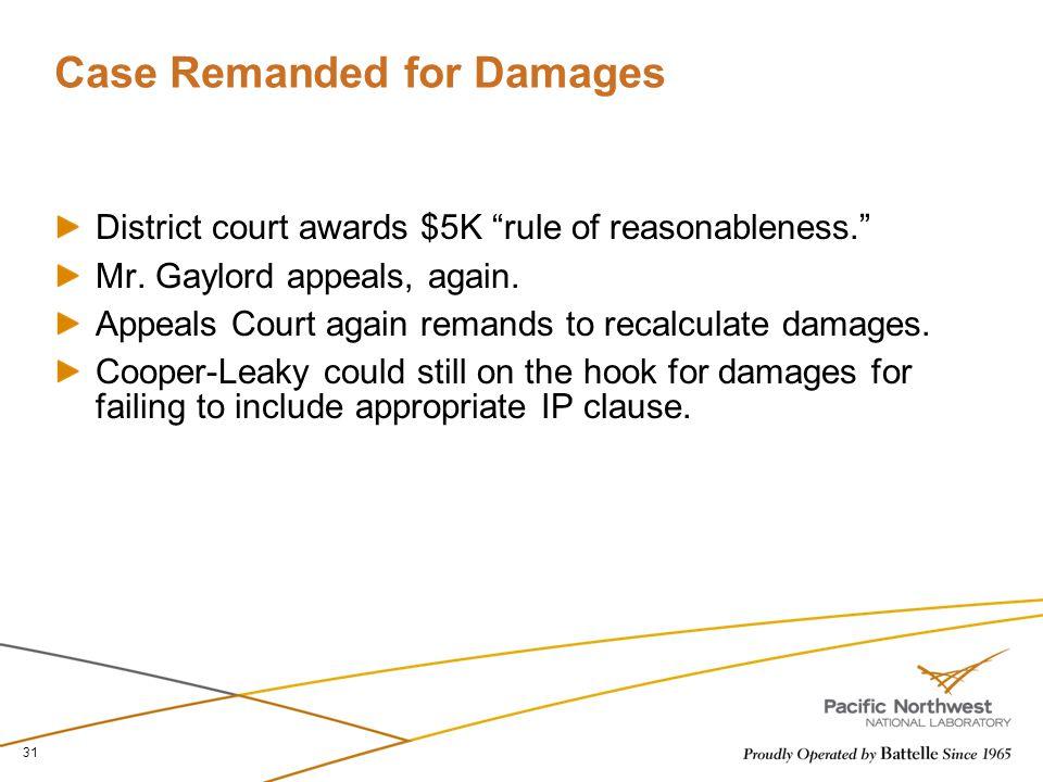 Case Remanded for Damages