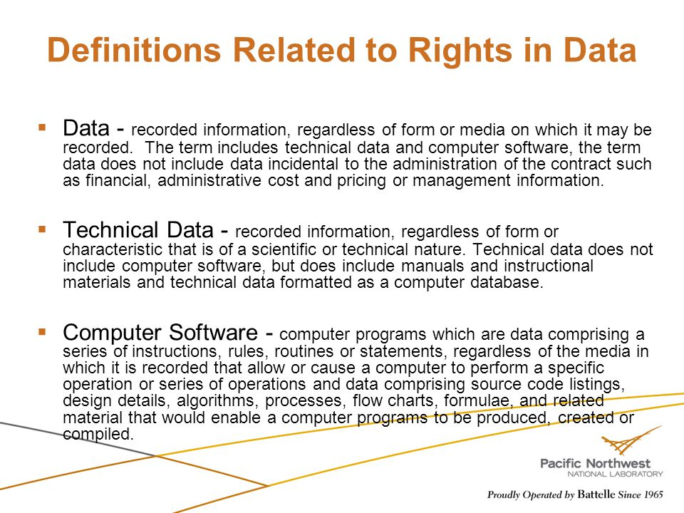 Definitions Related to Rights in Data