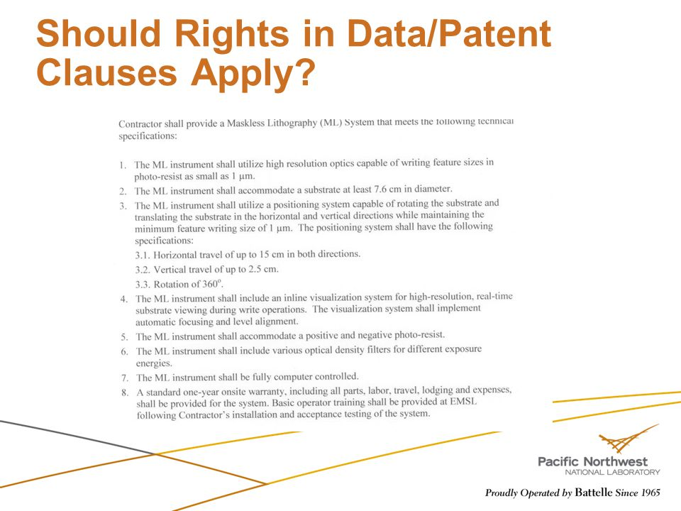 Should Rights in Data/Patent Clauses Apply