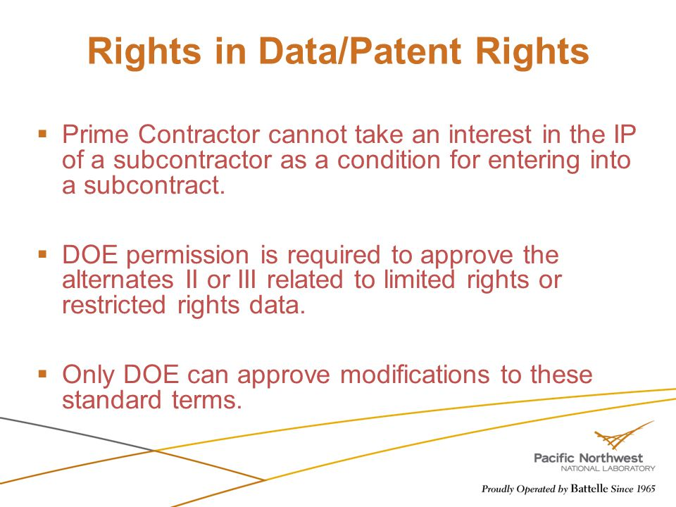 Rights in Data/Patent Rights