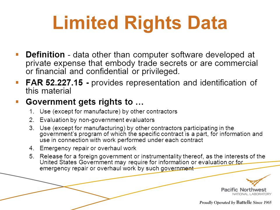 Limited Rights Data