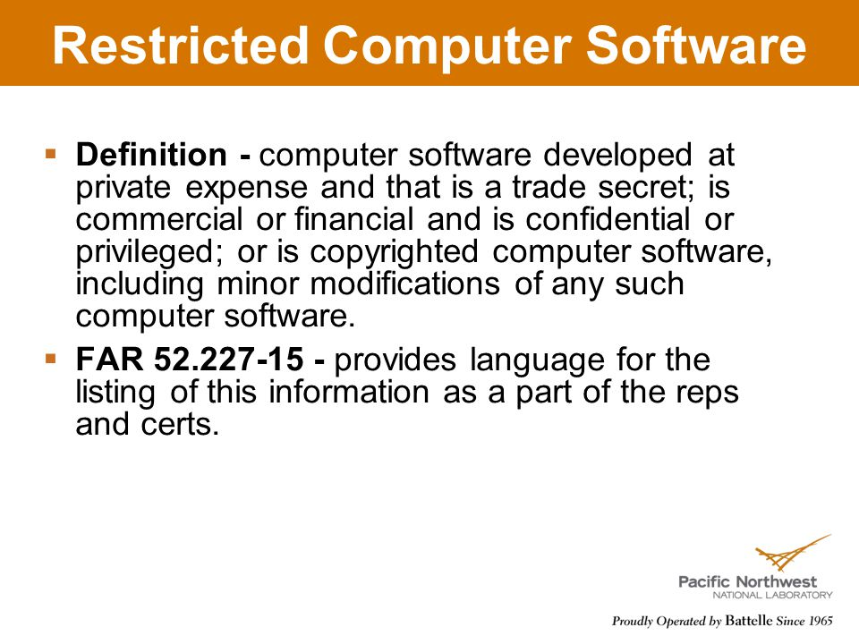 Restricted Computer Software