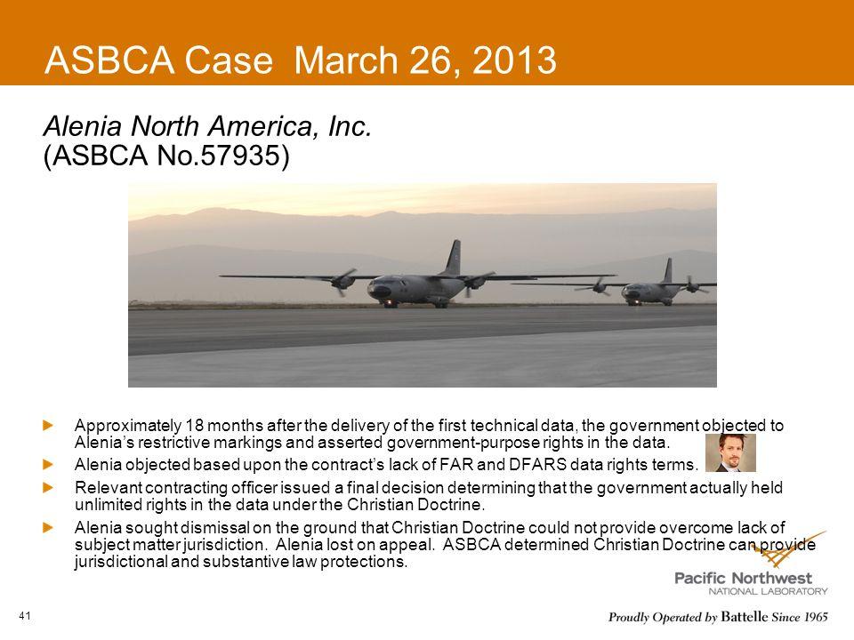 ASBCA Case March 26, 2013 Alenia North America, Inc. (ASBCA No.57935)