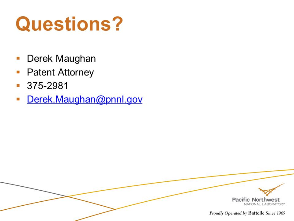 Questions Derek Maughan Patent Attorney 375-2981