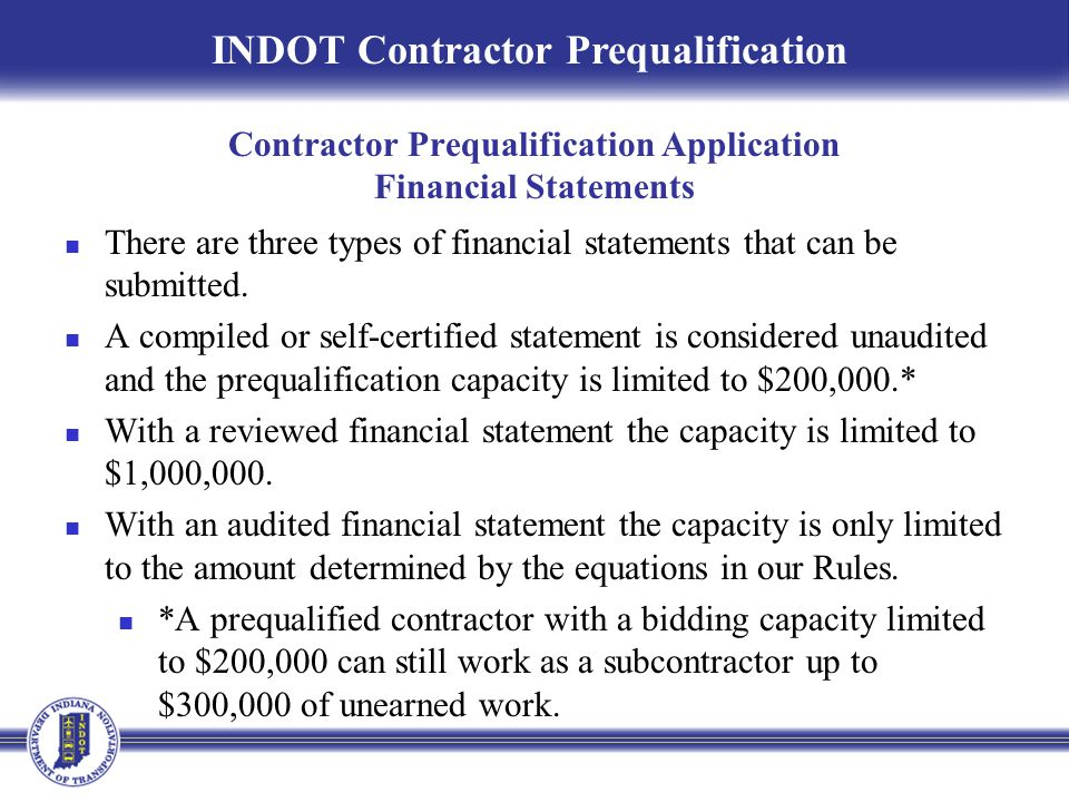 Contractor Prequalification Application Financial Statements