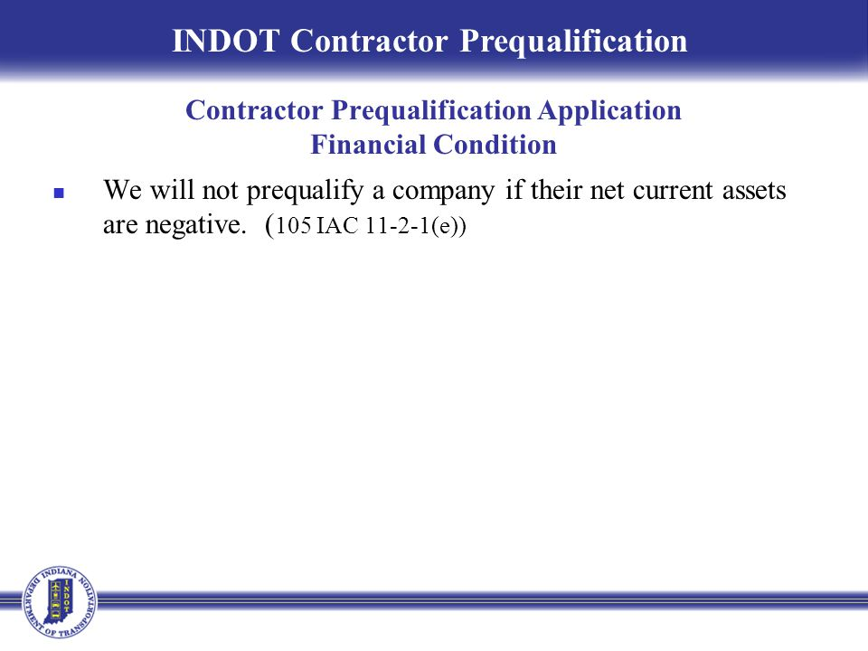 Contractor Prequalification Application Financial Condition