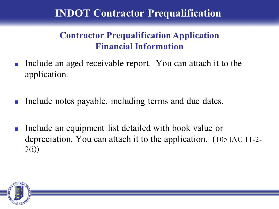 Contractor Prequalification Application Financial Information