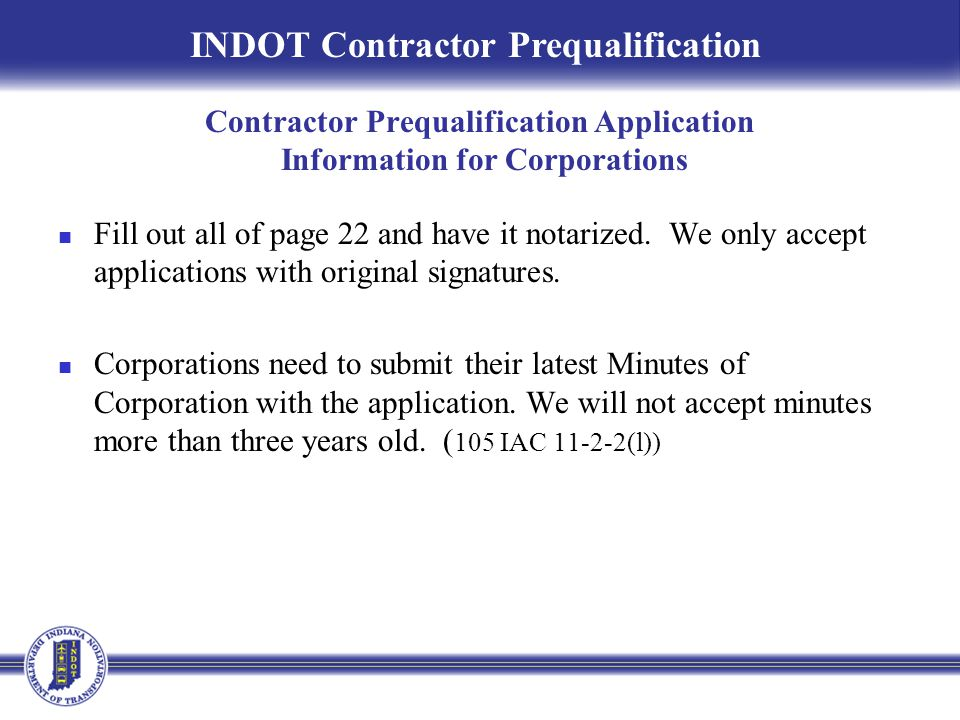 Contractor Prequalification Application Information for Corporations