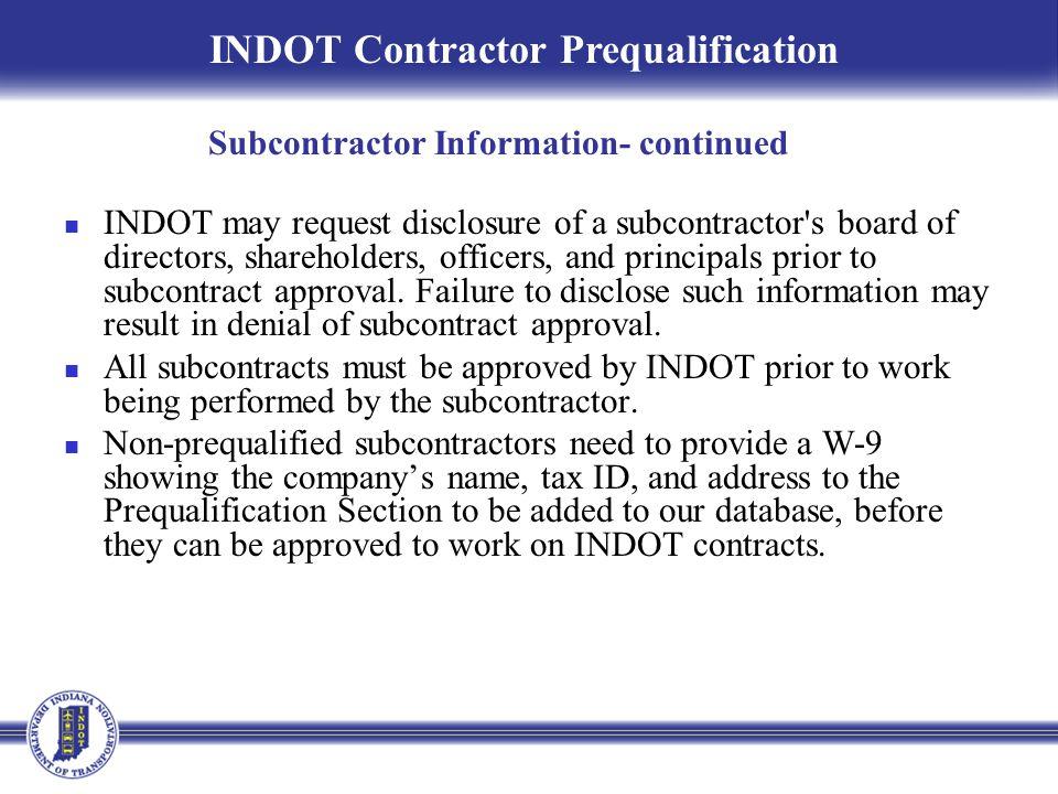Subcontractor Information- continued
