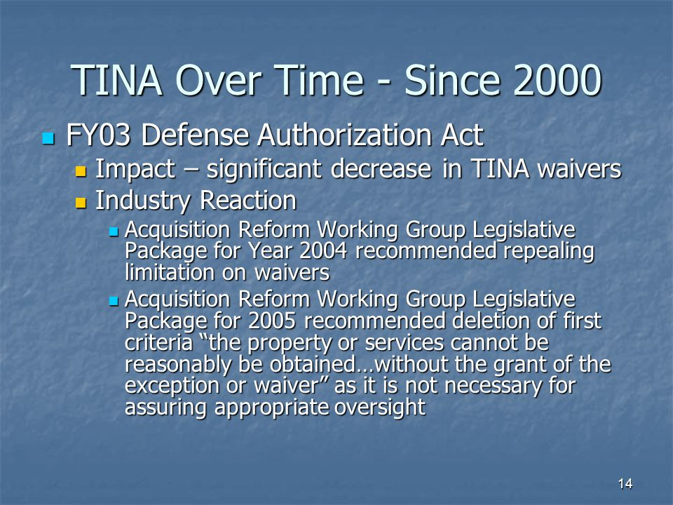 TINA Over Time - Since 2000 FY03 Defense Authorization Act