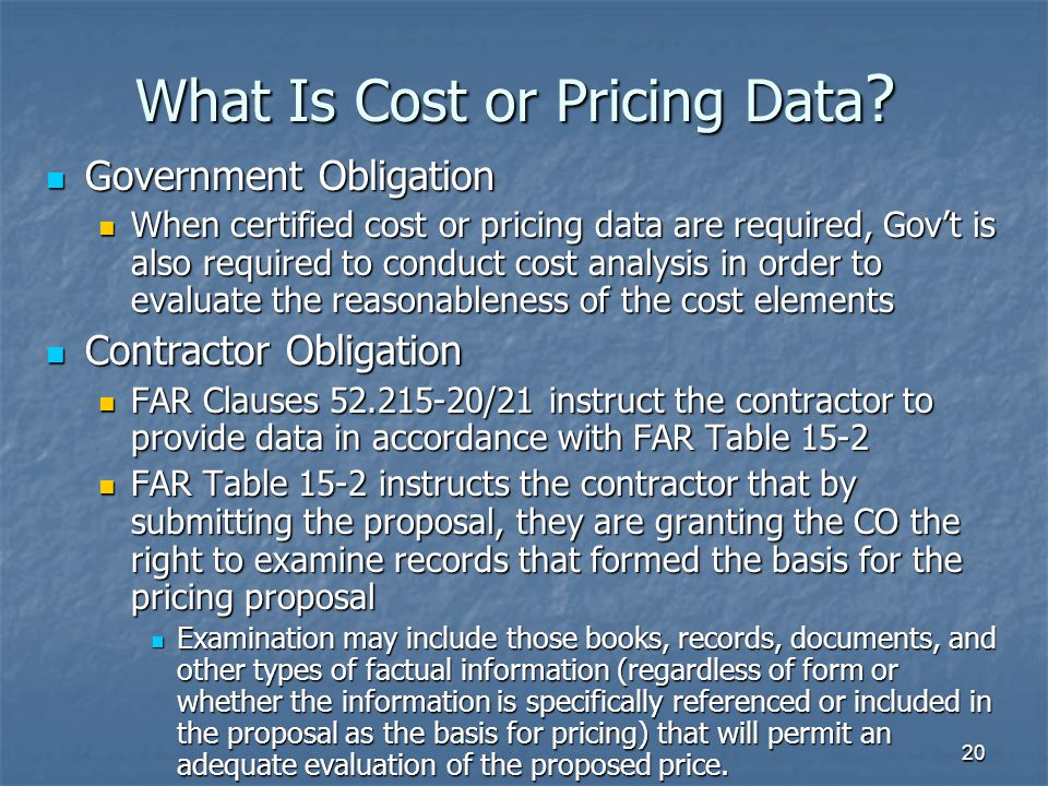 What Is Cost or Pricing Data