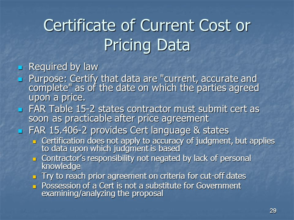 Certificate of Current Cost or Pricing Data